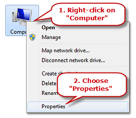 Choose Computer Properties