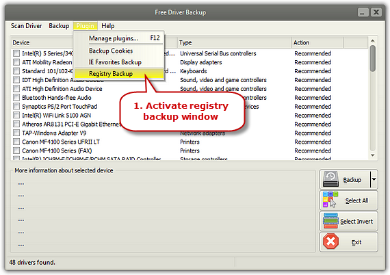 Activate Registry Backup Window